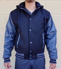 College Style Men's Jacket With Hood Vinyl Sleeves New W/Tags See Description