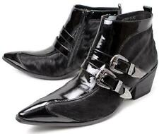 New Mens Formal Motor Punk Rock Leather Buckle Ankle Boot Dress Pointy Toe Shoes
