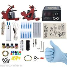 Complete Tattoo Kit DIY 2 Tattoo Machines 4 Colors Inks Power Supply System