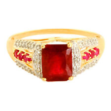 Ruby 2.45 Carat Genuine Gemstone Diamond Ring In 9 Kt Yellow Gold