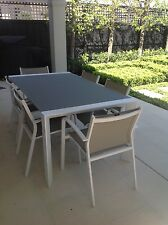 Outdoor Dining Setting, 7 piece glass topped table & 6 mesh chairs