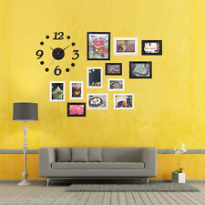 Wall Decor Collage Photo Frame Wall Sticker Clock Set for Home Office Cafe
