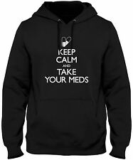 Men's Keep Calm And Take Your Meds Hoodie Funny Prescription Medicine Sweatshirt