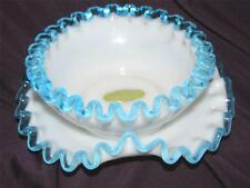VINTAGE FENTON BLUE CREST  MILK GLASS SMALL BOWL AND UNDER PLATE  STICKERS