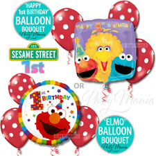 SESAME STREET 1ST FIRST ELMO BIRTHDAY PARTY SUPPLIES DECORATIONS BALLOON BOUQUET