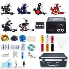Tattoo Kit 6 Machine Guns Shader Liner Power Supply 50 Needles Tip with Box
