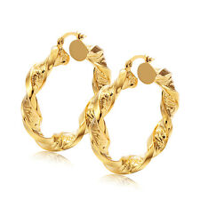 Stunning Womens 14K Yellow Gold F Twisted Circle Round Hoop Earrings