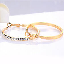 womens rainbow crystal hoop earrings Yellow gold filled free shipping earings