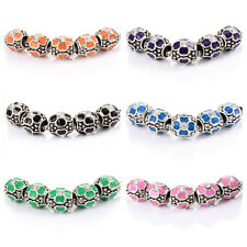 5pcs silver plated charms band Enamel big hole beads for bracelets girls