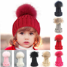 New Kids Baby Toddler Boys&Girls Winter Knit Warm Soft Beanie Hat Hairball Cap