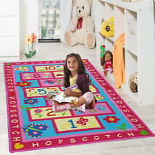 KIDS PINK HOPSCOTCH GIRLS BEDROOM FLOOR RUGS NURCERY PLAY MATS BOYS HOME CARPET