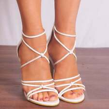 WHITE PATENT STILETTOS PEEP TOES STRAPPY SANDALS HIGH HEELS SHOES SIZE 3-8