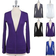 Long Sleeve V Neck Button Down Cardigan with Side Pockets VARIOUS COLOR and SIZE