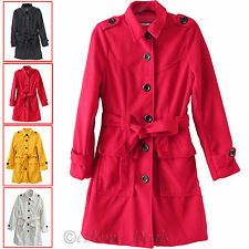 Ladies Womens Military Trench Belted Waterfall Draped Sleeve Long Coat Jacket