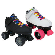 Pacer Mach-5 GTX500 Black or White Quad Speed Roller Skates with Rainbow Laces