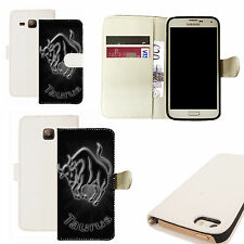 pu leather wallet case for majority Mobile phones -  black taurus white