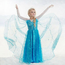 Girls Disney Elsa Frozen dress costume Princess Anna party dresses cosplay+