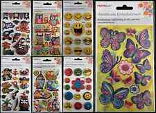 PIRATES SMILEY BIRDS OWLS BUTTERFLY 3D STICKERS - SCRAPBOOKING CRAFT ACID FREE