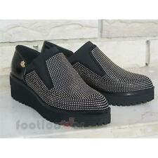 Shoes Blu Byblos 6670Q7 301 Woman Leather Black Gold Mocassin Micro Studs Made i