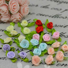 50pcs Satin Ribbon Flowers Rose With Green Leaves Appliques Sewing DIY Craft New