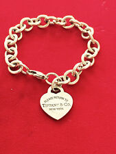 TIFFANY & CO RETURN TO TIFFANY STERLING SILVER EXTRA LARGE HEART CHARM BRACELET