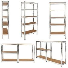 Heavy Duty Metal Storage Racking Garage Shelving Warehouse 5 Tier Unit MDF Shelf