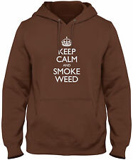 Men's Keep Calm And Smoke Weed Hoodie   420 Marijuana Pot Sweatshirt Free S&H!