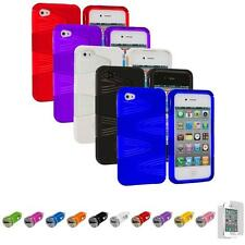 For iPhone 4S 4 Swirl Hybrid 2-Piece Hard TPU Case Skin +Car Charger+LCD