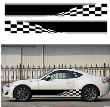 2x Checkered Flag Auto Graphic Decal Vinyl Car Body Racing Stripe Sticker 2.1M