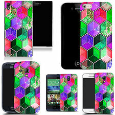 motif case cover for various Popular Mobile phones - coloured hexagon