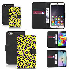 pu leather wallet case for many Mobile phones - animal yellow print black