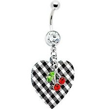316L Surgical Steel Plaid Heart Red Cherry Navel Belly Ring