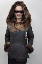 Brown 100% Sheepskin Toscana Shearling Leather Hood Winter Coat Jacket XS-6XL