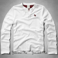 NEW ABERCROMBIE FITCH KIDS A&F Boys Long Sleeve Henley Tee T Shirt White M L XL