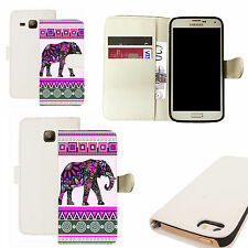 pu leather wallet case for majority Mobile phones - pink elephant white