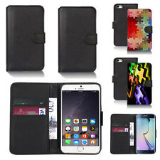 black pu leather wallet case cover for many mobiles design ref q390