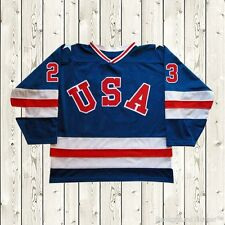 Dave Christian Hockey Jersey #23 Miracle On Ice Movie USA Team Stiched Sewn Blue