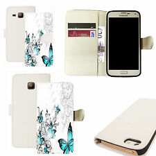 pu leather wallet case for majority Mobile phones - blue winged butterfly white