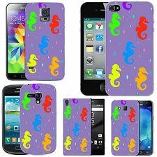 gel case cover for many mobiles - violet colourful seahorse droplet silicone