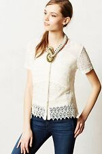 NIP Anthropologie Buttoned Lace Midi Blouse by Let Me Be Size S Petite $158