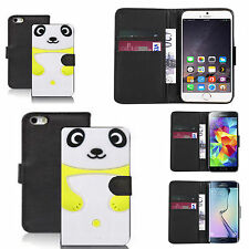 pu leather wallet case for many Mobile phones - yellow panda
