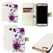 pu leather wallet case for majority Mobile phones - calm floral white