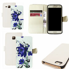 pu leather wallet case for majority Mobile phones - blue floral bloom white