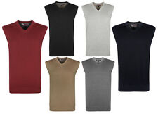 NEW MENS V NECK CLASSIC PLAIN KNITTED SLEEVELESS TANK TOP JUMPERS SIZES S-5XL