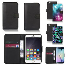 black pu leather wallet case cover for many mobiles design ref q685
