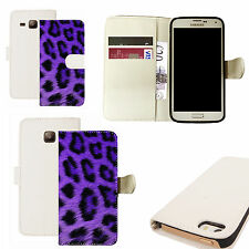 pu leather wallet case for majority Mobile phones - purple leopard white