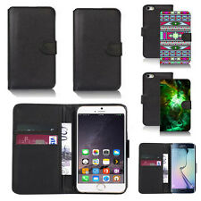 black pu leather wallet case cover for many mobiles design ref q304