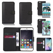 black pu leather wallet case cover for many mobiles design ref q674
