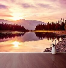 Sunrise Lake Wall Mural Photo Wallpaper Sunrise Over Mountains Relaxing Calm