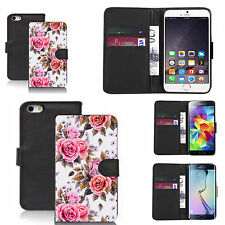 pu leather wallet case for many Mobile phones - dainty carnation